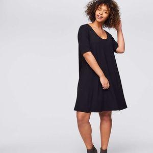LOFT SHORT SLEEVE SWING DRESS Black